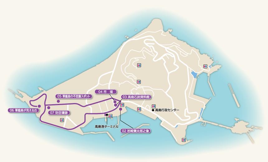 軍艦島見学コース-マップ